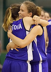 Slovakia celebrate their first win at the U16 European Championship Women