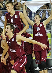 Latvia celebrate their quarter-final victory over Lithuania