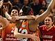 Galatasaray celebrate their semi-final win over UMMC Ekaterinburg