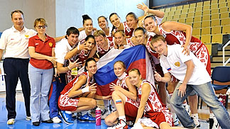 Russia celebrate their fifth place finish