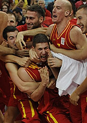 Nikola Ivanovic and Montenegro teammates celebrating