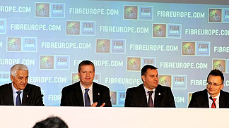 FIBA Europe Secretary General Nar Zanolin, FIBA Europe President Olafur Rafnsson, Hungarian Secretary of State for Sport Attila Czene and Hungarian Chief of Staff of the Prime Minister's office Peter Szijjarto at the press conference after the EuroBasket