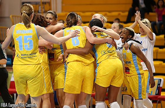 ZVVZ USK Prague celebrate an historic first EuroLeague Women Final Eight victory