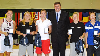 Bulgarian Basketball Federation President Georgi Glushkov presenting the All Tournament Team awards to Julie Vanloo (Belgium), Hanne Mestdagh (Belgium), Sonia Ursu (Romania), Huna Lagzdina (Latvia) and Monika Satoranska (Czech Republic)