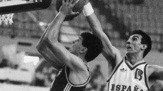 2 legends of the international game, Drazen Petrovic (Croatia - left) and Spains Juan San Epifanio