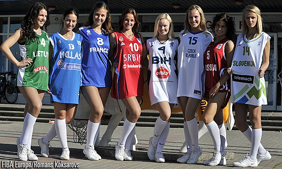 Cheerleaders adorning the national singlets of the eight teams playing the first round of the U18 European Championship 2013 in the Latvian city of Ventspils