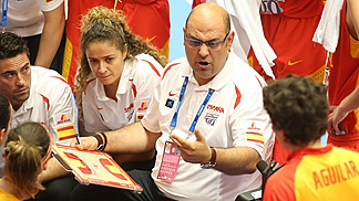 Spain head coach Lucas Mondelo during a time-out