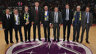 Belgium Prime Minister Charles Michel and fellow dignitaries at the EuroCup Women Final Second Leg
