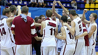 Latvia celebrating their survival in Division A