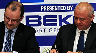 FIBA Secretary General Patrick Baumann and CEO of Arcelik Group, Levent Cakiroglu