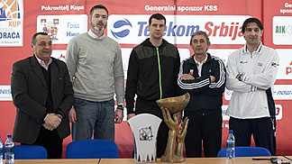 The President of the National Cups Local Organising Committee in Nis, Zoran Zivkovic, Serbian Federation Vice-President Dejan Tomasevic, Partizan Belgrade head coach Vlada Jovanovic, Red Star Belgrade head coach Sevtislav Pesic and KK Hemofarm head coach
