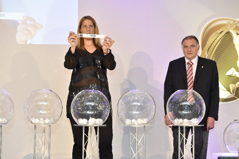 FIBA Special Projects Manager Betty Cebrian and FIBA Europe vice-President Cyriel Coomans at the EuroBasket Women 2017 Qualifiers Draw