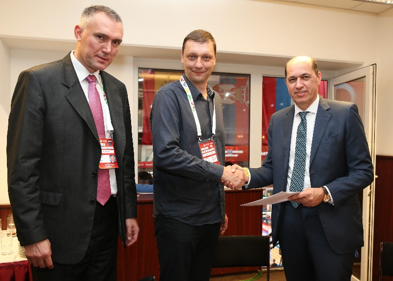 FIBA Executive Director Europe, Kamil Novak, Czech Basketball Federation Secretary General Michal Konecny and FIBA Europe President Turgay Demirel