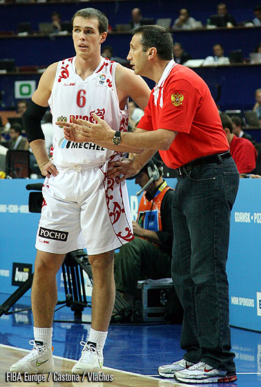 Head Coach David Blatt and Sergey Bykov (Russia)