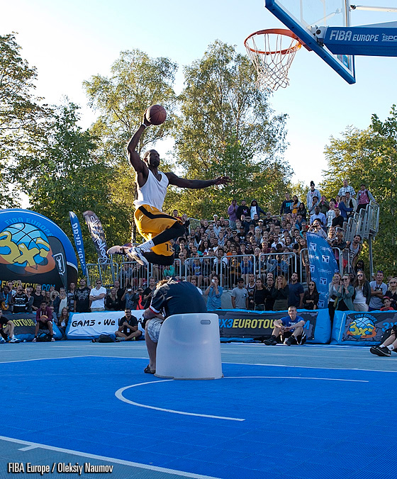 Durell Vinson during dunk contest in Copenhagen