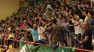 Antakya fans celebrate at their clubs debut in the EuroCup Women