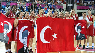 Turkey celebrating their bronze medal game win