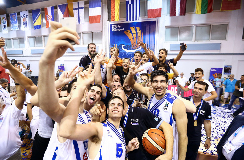 Greece taking a champions' selfie after the closing ceremony