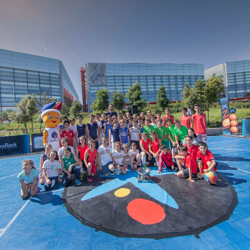 Group photo session in Burgos with former Spanish international Jorge Garbajosa, mascot Frenkie and the EuroBasket trophy