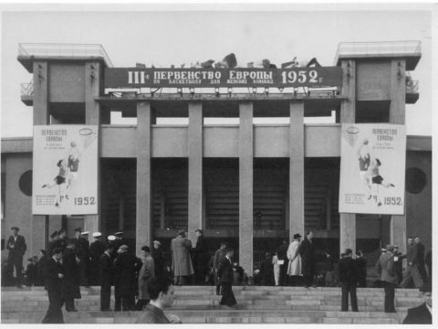 Fans gather outside the open-air stadium for the 1952 European Championship for Women in Moscow
