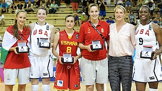 FIBA U17 World Championship for Women All-Tournament team (from l to r): Debora Dubei, Hungary; Katie Lou Samuelson, USA; Angela Salvadores (MVP), Spain; Virag Kiss, Hungary; Joyner Holmes, USA.