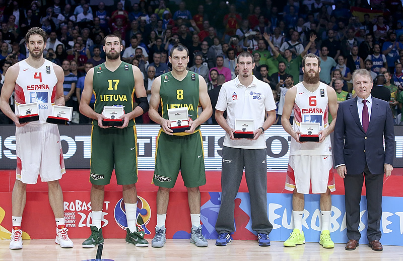 EuroBasket 2015 All-Star Five Presented by Tissot 4. Pau Gasol (Spain), 6. Sergio Rodriguez (Spain), 8. Jonas Maciulis (Lithuania), 17. Jonas Valanciunas (Lithuania), 12. Nando De Colo (France)