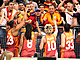 Galatasaray odeabank players embrace their fans
