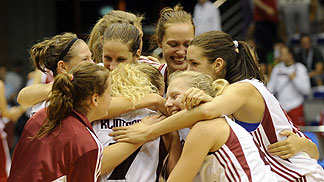 Latvia celebrating