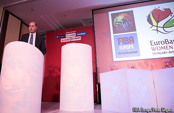 FIBA Europe President Turgay Demirel speaks at the EuroBasket Women 2015 Draw