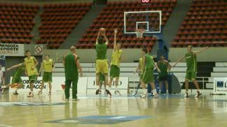 Lithuania getting ready for the first game in Zaragoza