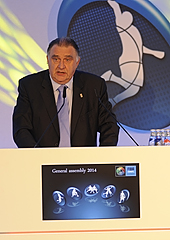 FIBA Europe Acting President Cyriel Coomans speaking at the 2014 FIBA Europe General Assembly