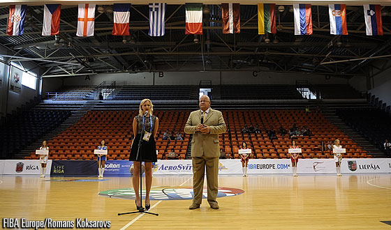 Guntis Blumbergs, the 1st Deputy Chairman of the Ventspils City Council in Cooperation Affairs at the U18 European Championship 2013 Official Opening in Ventspils