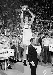 German captain Hansi Gnad lifts the 1993 European Championship trophy