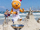 EuroBasket 2015 mascot Frenkie at Tel Aviv beach