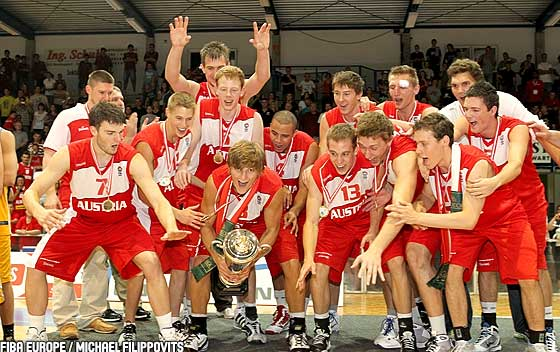 Austria celebrate their U20 European Championship Men 2010 Division B title