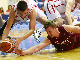 Montenegro and Latvia fighting for a loose ball