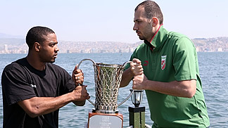 Aaron Miles & Ümit Sonkol with the EuroChallenge trophy