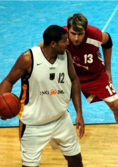Germany's Stephen Arigbabu posts up Turkey's Mehmet Okur at the Super Cup in Bamberg