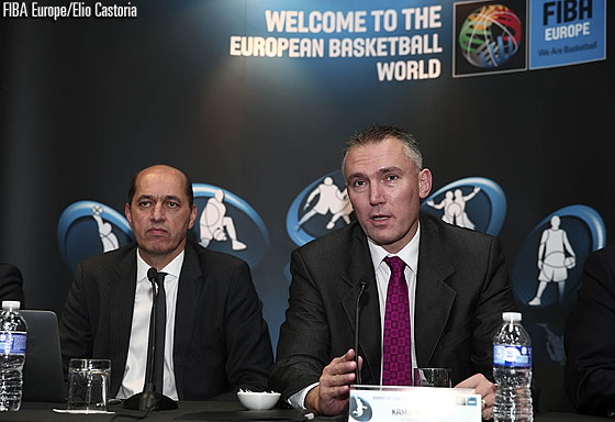 FIBA Europe Secretary General Kamil Novak speaking at the press conference on the EuroBasket 2015 hosts on 8 September 2014 in Madrid