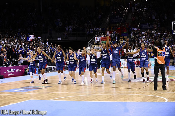 France celebrate their win over Belarus