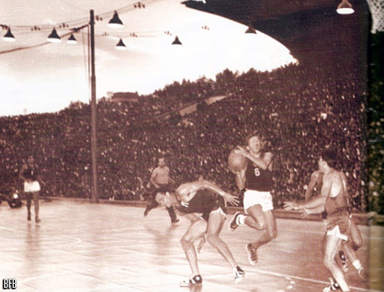 Final of the 1957 European Championship in Sofia between Bulgaria and the Soviet Union
