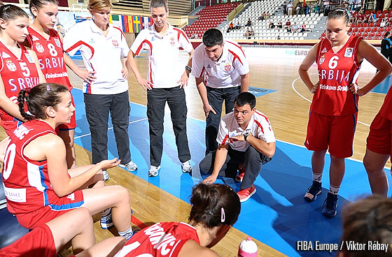 Serbia head coach Milos Pavlovic during a time-out