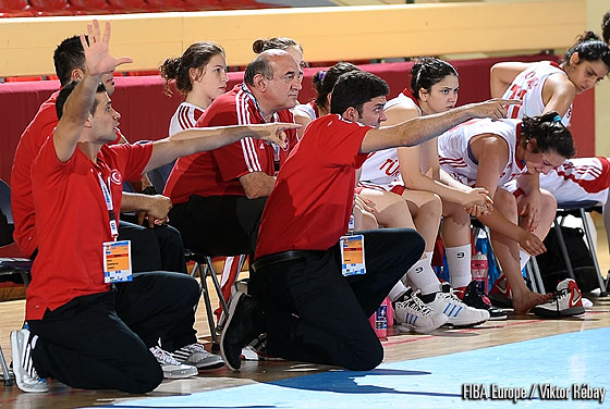 Turkey's coaching staff giving advice from the sideline