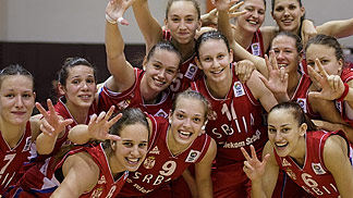Serbia celebrating their victory