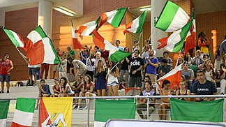 Italian fans prior to their side's quarter-final clash with Russia
