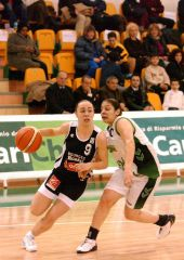 Battle of the point guards: Bourges' Celine Dumerc (left) and Carichieti's Angela Zampella