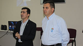 Referee Instructor Davorin Nakic with FIBA Referee Alakbar Hasanov at the Referee Clinic in Baku