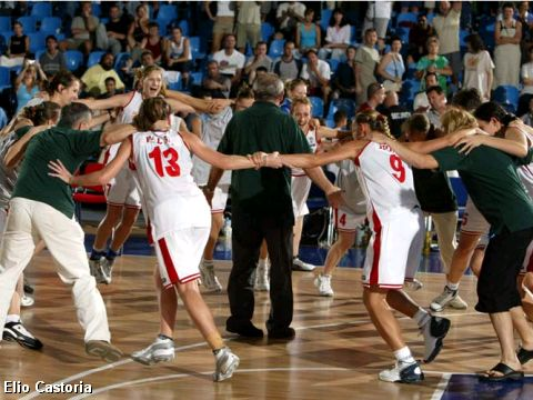 the Hungarian team celebrate the victory over Serbia & Montenegro