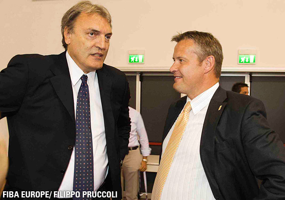 Dino Meneghin (President of Italian Basketball Federation), Olafur Rafnsson (President of FIBA Europe)