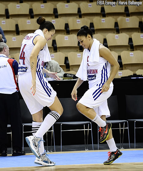 Lauren Thomas-Johnson & Azania Stewart dancing after Great Britain's win over Croatia